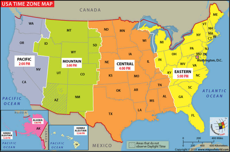 USA time zone map